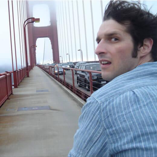 Von hinten erwischt! Ich auf dem Tandem auf der Golden Gate Bridge.
