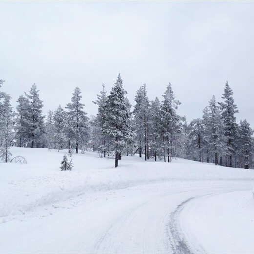Merveilleux paysage enneigé