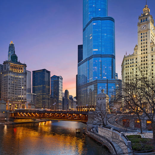 Downtown Chicago im Abendrot