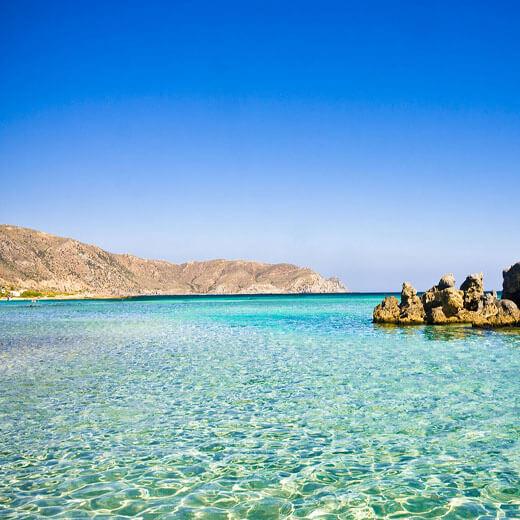 Am Elafonisi Strand das türkisblaue Wasser geniessen