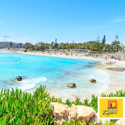 Ausblick auf den berühmten Nissi Beach
