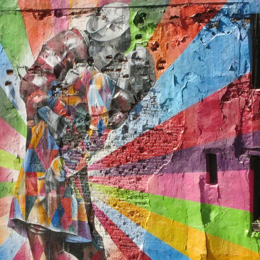Kunst-Malerei. Entdeckt auf der Highline (immer nach vorne und zurück schauen)