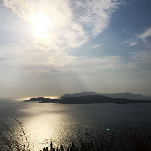 Aussicht von Athinios über die anderen 4 Inseln Santorinis