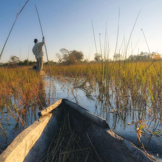 Die Fahrt mit den Mokoro-Kanus ist immer ein Erlebnis