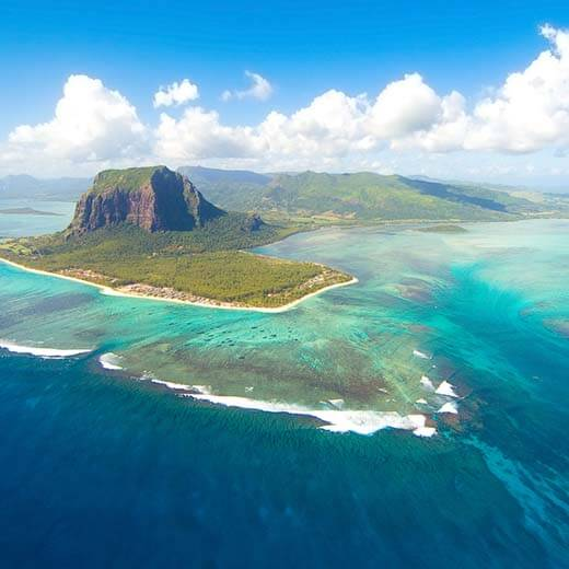 Wunderschöne Luftaufnahme von Mauritius