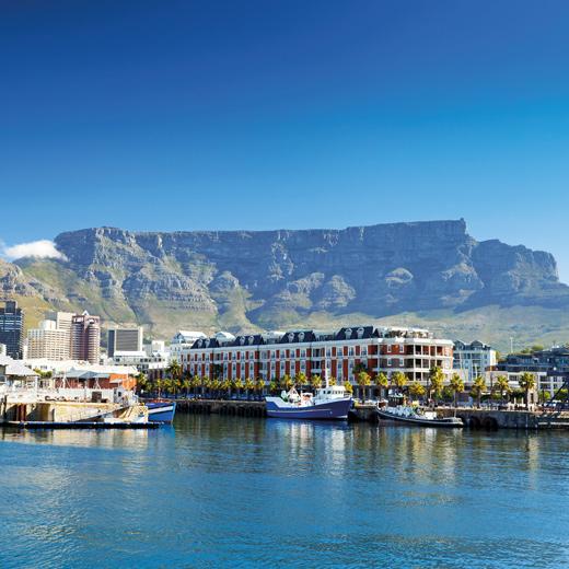 Aussicht auf den Tafelberg von der Waterfront aus