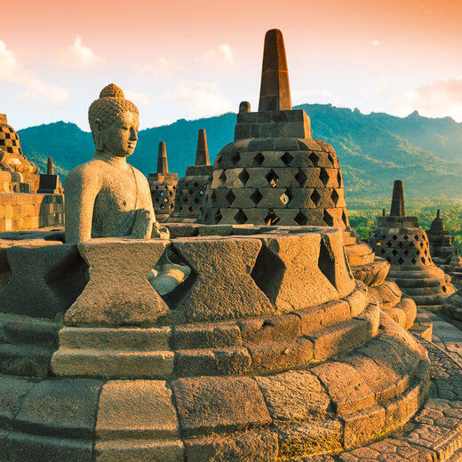 Der Borobudur Tempel bei Yogyakarta
