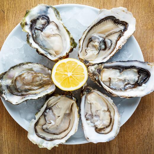 Auch Austern stehen oftmals auf der Speisekarte in Frankreich