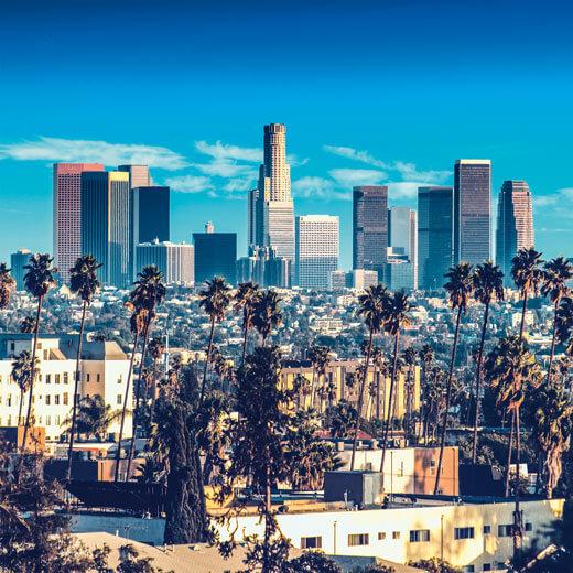 Le centre de Los Angeles avec ses gratte-ciel