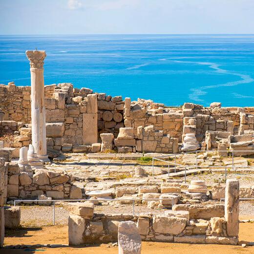 """Die Überreste des """"Haus des Eustolios"""" in Kourion"""