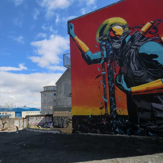 Wandmalereien in Reykjavik