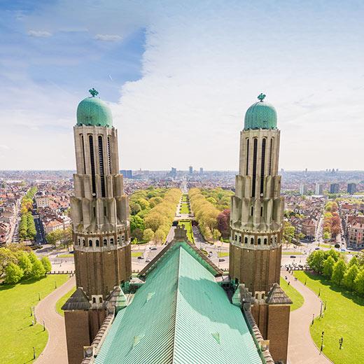 Ausblick über den Elisabethpark von der Basilika von Koekelberg
