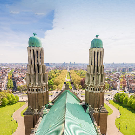 Vue de la basilique de Koekelberg sur le parc Elisabeth