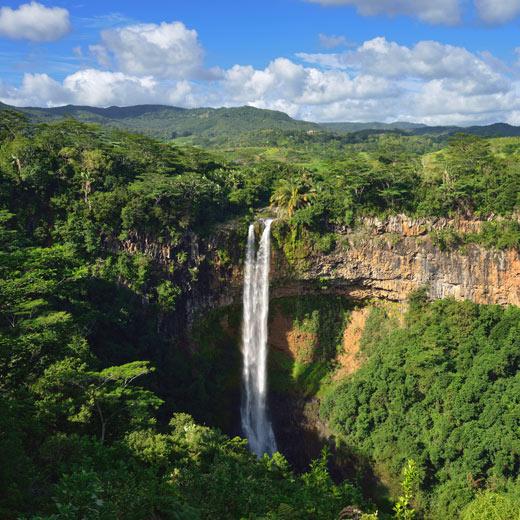 Der Chamarel Wasserfall auf Mauritius
