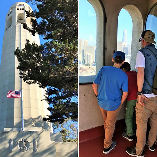Auf dem Coit Tower: Kindern kann es nie hoch genug sein!
